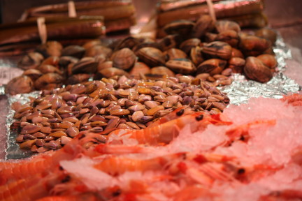 Seafood Stand in Valencia Market, holiday destination for foodies