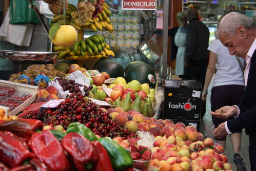Buying produce in markets